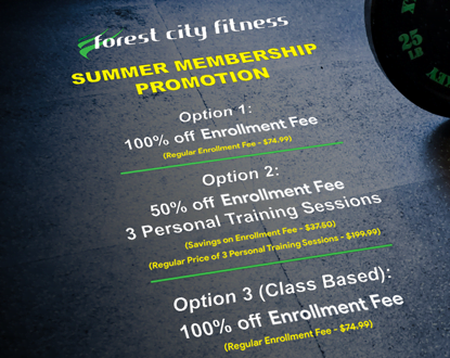 Forest City Fitness April Promotion Mobile